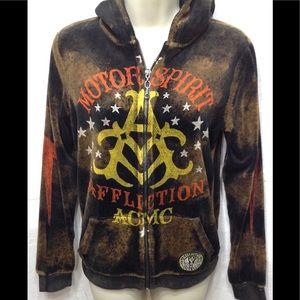 Junior's sz Lrg AFFLICTION AMERICAN CUSTOMS hoodie